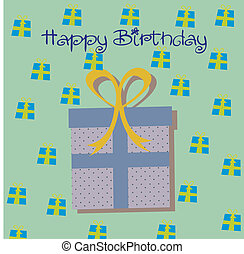 Birthday icons - birhday gift over blue background vector...
