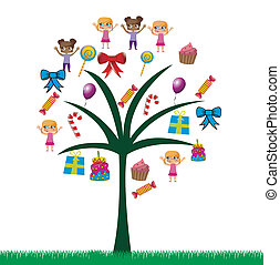 Birthday icons - birhday icons in a tree over white...