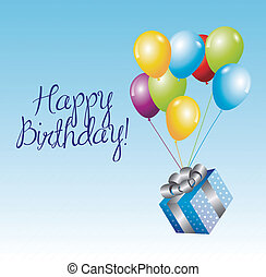 Birthday icons - Birthday Card with a gift and balloon over...