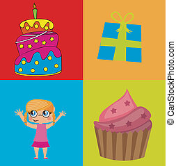 Birthday icons - birhday icons over colors background vector...