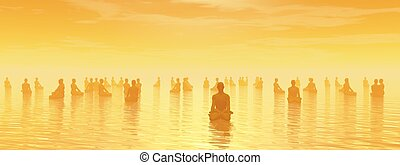 Meditation for all - 3D render - Many human beings...