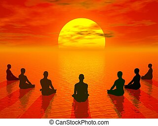 Sunset meditation - 3D render - Human sitting in lotus...
