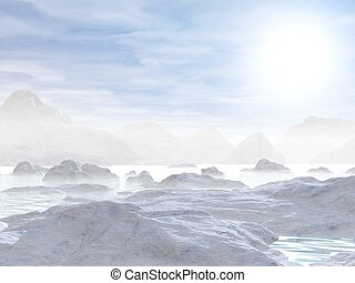 Icebergs - 3D render - Landscape of northen nature with...