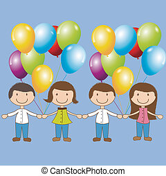 Birthday icons - Birthday card with children and balloon...