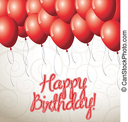 Birthday icons - Happy birthday card with balloon over white...