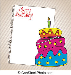 Birthday icons - Birthday card with a cake and paper over...