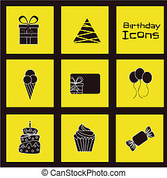 Birthday icons - birhday icons over yellow background vector...