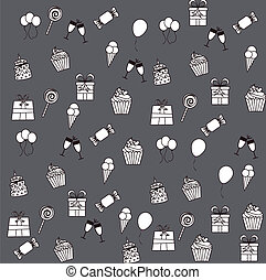 Birthday icons - birhday icons over gray background vector...