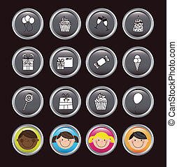 Birthday icons - birhday icons over black background vector...