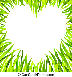 Grass heart-shaped frame in white background .