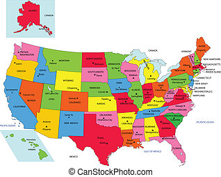 USA 50 States with State Names and Capital vector
