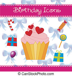Birthday icons - birhday icons over white background vector...