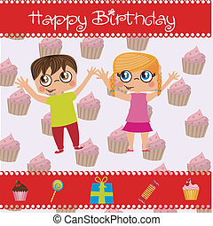 Birthday icons - two children surrounded by icons of...
