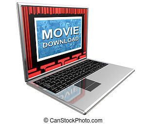 Internet movies - Isolated illustration of a laptop showing...