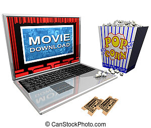 Movie Download - Isolated illustration of a laptop and a...