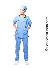 Medical surgeon doctor woman smile standing with wearing a...