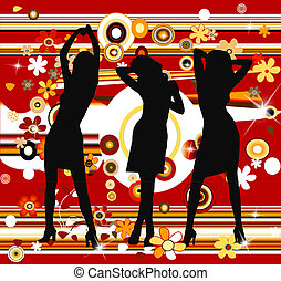 retro background and silhouettes - women dancing on a retro...