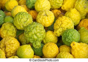 Kaffir lime Or Bergamot Fruit Isolated On White,This Fruit...