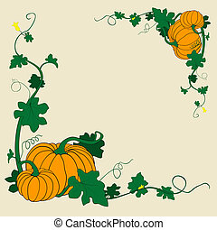 pumpkins frame - thanksgiving pumpkins frame vector...