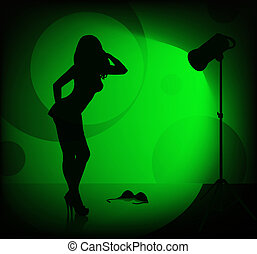female silhouette - female model take off her bra during of...