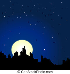 rooftops night view - village rooftops silouettes on moon...