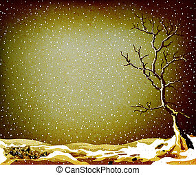 grunge winter landscape with tree and lot of snow falling