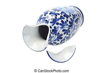 Broken Chinese Porcelain Vase Lying on White Background