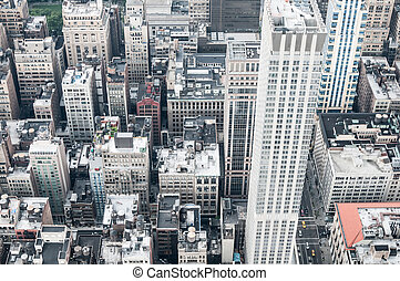 Aeriel shot of New York City buildings in Manhatten.