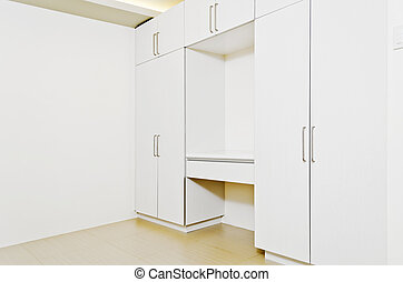 Room Cabinets - Newly built room cabinets in a white room