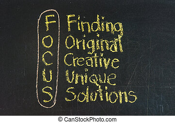 Focus acronym for Finding, Original, Creative, Unique,...