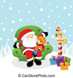 Santa With Kid - Little kid sitting on santa;s lap waiting...