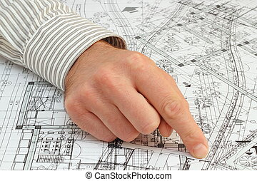 architect pointing the solution - architect pointing with...