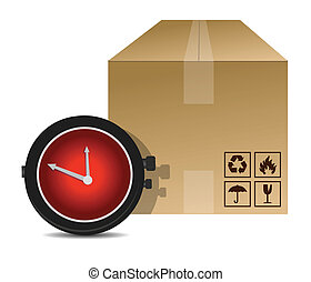 watch and box shipping illustration design over a white...