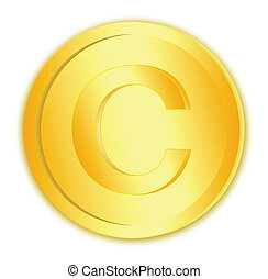 Copyright sign in gold coin on white