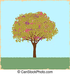 Beautiful blot tree in retro style. Vector illustration