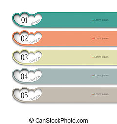 Design template with stylized clouds