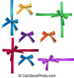 Vector set of ribbon bows