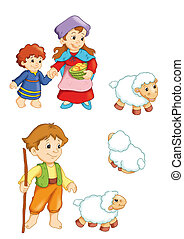 characters of the manger 3 - colored illustration of...