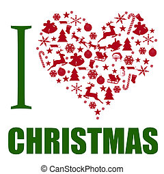 I love Christmas background The heart is made from different...