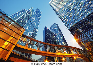 Skyscrapesr in Hong Kong - Modern office buildings in...