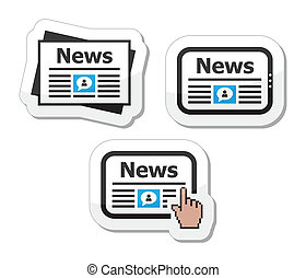 Newpaper, news on tablet icons set - <br/>...