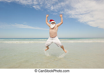 Santa Claus tropical beach christmas fun