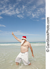 Santa Claus Tropical Beach Christmas