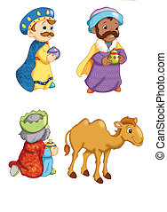 characters of the manger 1 - colored illustration of...