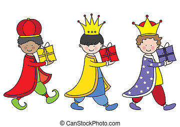 the three kings - Children dressed as the three kings...