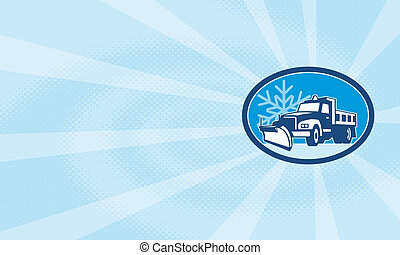 Snow Plow Truck Retro - Illustration of a snow plow truck...