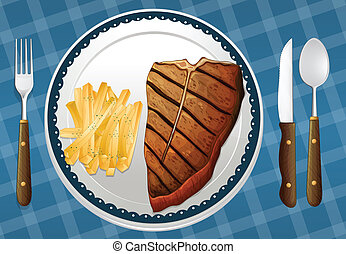 Steak and fries - illustration of a Steak and fries on a...