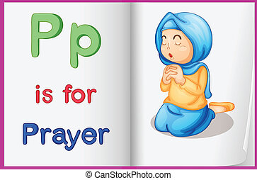 Prayer - Illustration of the letter P in a book
