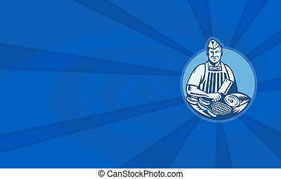 Butcher With Meat Cleaver Meat Cuts Retro - Illustration of...