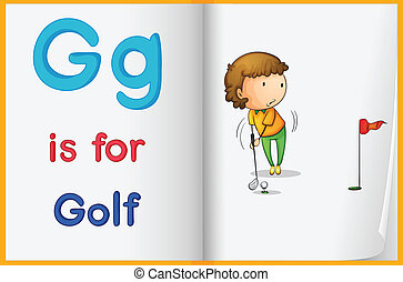 Golf and a book - Illustration of the letter G in a book
